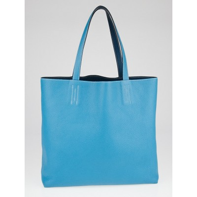 Hermes 36cm Turquoise/Mallard Clemence Leather Double Sens Tote Bag
