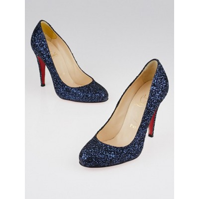 Christian Louboutin Blue Glitter Simple 100 Pumps Size 5/35.5