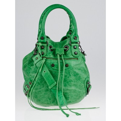 Balenciaga Vert Poker Lambskin Leather Mini PomPon Bag