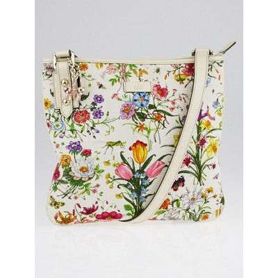 Gucci Floral Canvas Crossbody Messenger Bag