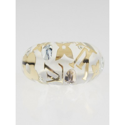 Louis Vuitton Clear Resin Monogram Inclusion Ring Size 7.5 L