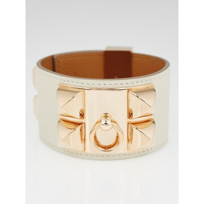 Hermes Parchemin Swift Leather Rose Gold Plated Collier de Chien Bracelet Size L