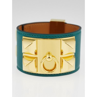 Hermes Malachite Swift Leather Gold Plated Collier de Chien Bracelet Size S