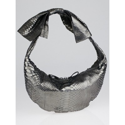 Valentino Dark Silver Python Bow Hobo Bag