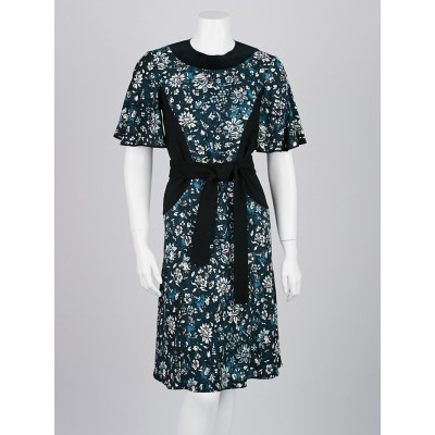 Louis Vuitton Blue Floral Print Short Sleeve Dress Size 4/36