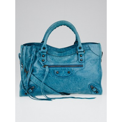 Balenciaga Bleu Paon Lambskin Leather Motorcycle City Bag