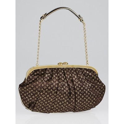 Louis Vuitton Limited Edition Brown Monogram Satin Aumoniere Evening Bag
