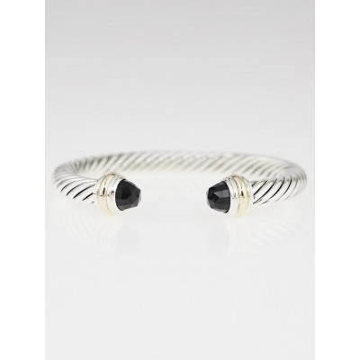 David Yurman 7mm Sterling Silver and Black Onyx Cable Classics Bracelet