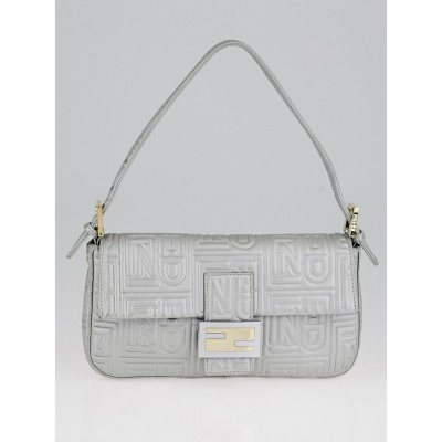 Fendi Silver Logo Embossed Nappa Leather Baguette Bag