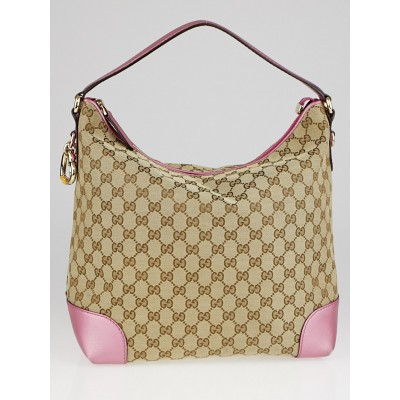 Gucci Beige/Pink GG Canvas Heart-Bit Hobo Bag