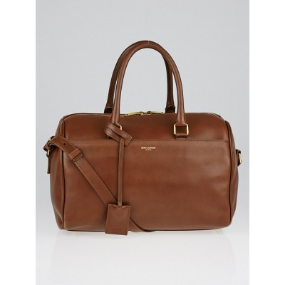 Yves Saint Laurent Brown Calfskin Leather Classic Duffle 6 Bag