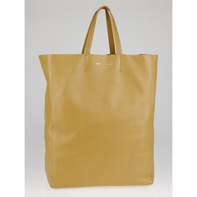 Celine Beige Smooth Lambskin Leather Vertical Cabas Tote Bag