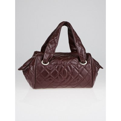 Chanel Bordeaux Quilted Glazed Caviar Leather Small Bowler Satchel Bag