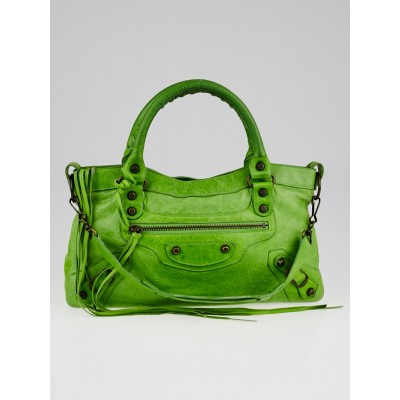 Balenciaga Apple Green Chevre Leather Motorcycle First Bag