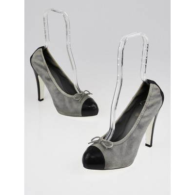 Chanel Grey/Black Leather Cap Toe Elastic Pumps 10.5/41