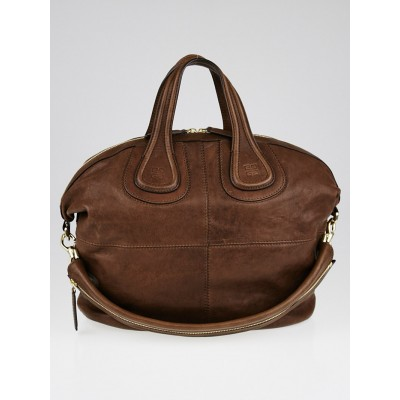 Givenchy Brown Lambskin Leather Medium Nightingale Bag