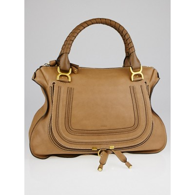Chloe Nut Calfskin Leather Large Marcie Satchel Bag