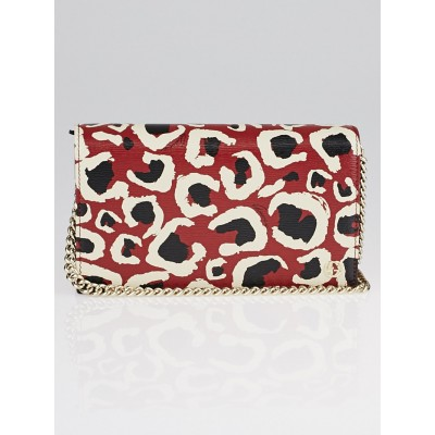 Gucci Red/Black Leopard Print Leather Betty Wallet on Chain Clutch Bag