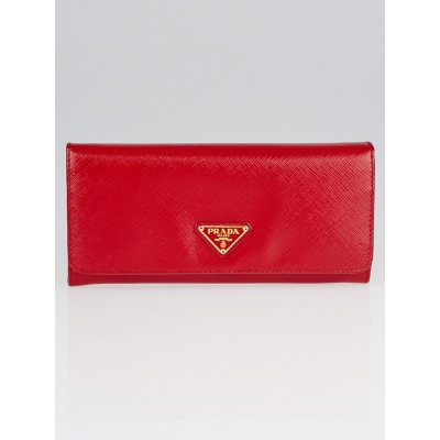 Prada Rosso Saffiano Vernic Leather Long Continental Wallet 1M1132