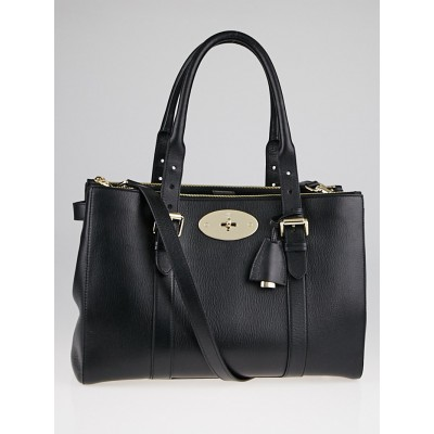 Mulberry Black Small Classic Grain Bayswater Double Zip Tote Bag