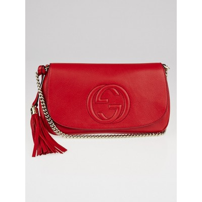 Gucci Red Pebbled Leather Soho Chain Shoulder Crossbody Bag