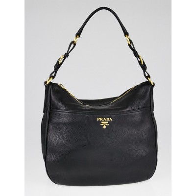 Prada Black Vitello Daino Sacca Hobo Bag BR4755