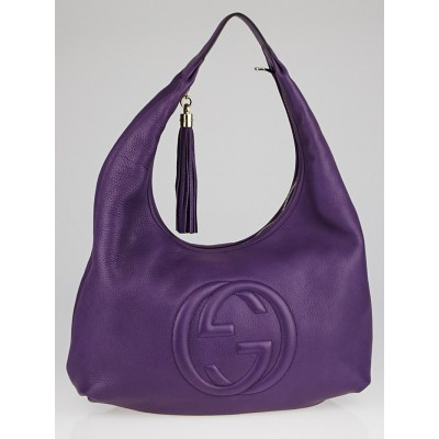 Gucci Purple Pebbled Leather Soho Hobo Bag