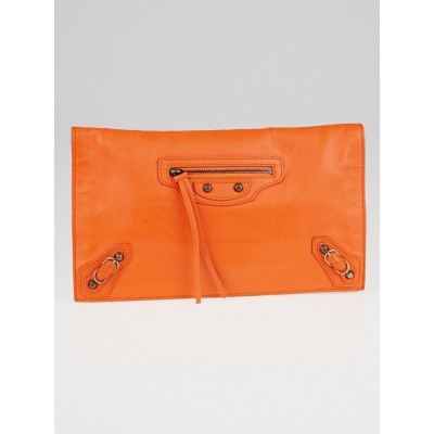 Balenciaga Tangerine Calfskin Leather Papier View Clutch Bag