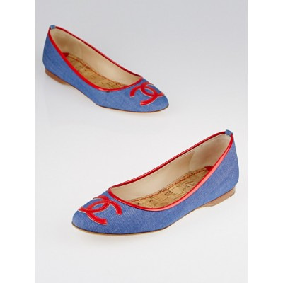 Chanel Blue Denim/Red Patent Leather CC Ballet Flats Size 6.5/37