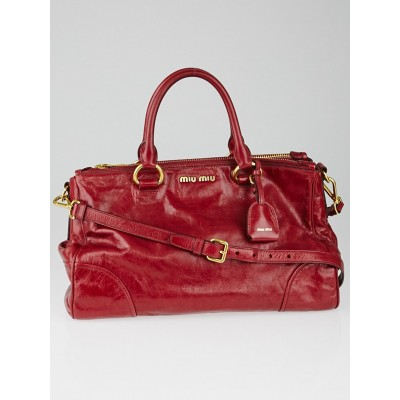 Miu Miu Rubino Vitello Shine Leather Tote Bag RN1091