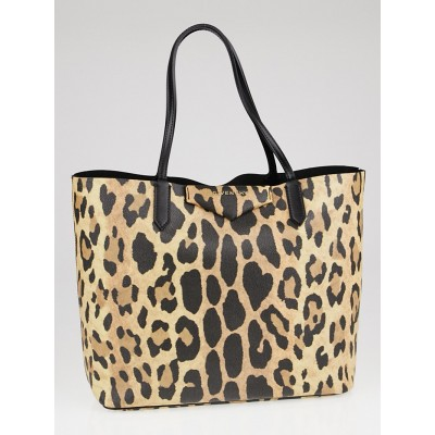 Givenchy Leopard Print Coated Canvas Antigona Small Shopper Tote Bag