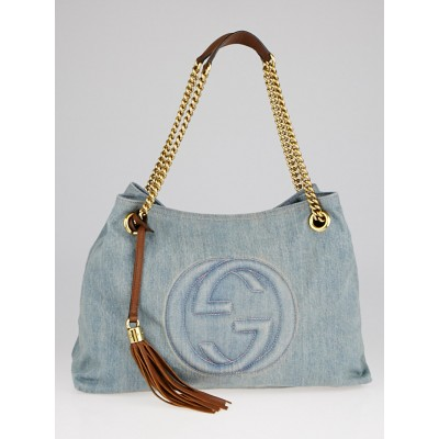 Gucci Blue Distressed Denim Soho Chain Tote Bag