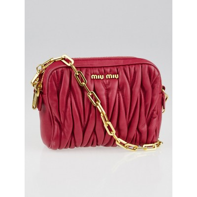 Miu Miu Fuchsia Matelasse Leather Chain Pochette Mini Bag