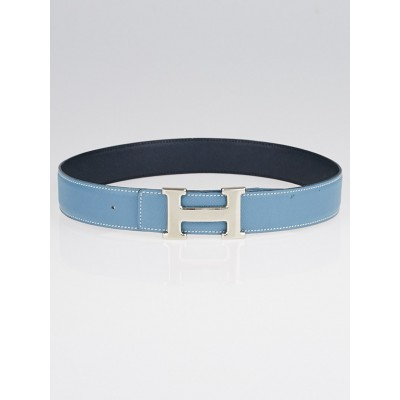 Hermes 32mm Blue Jean / Navy Blue Courchevel Leather Palladium Plated Constance H Belt Size 65