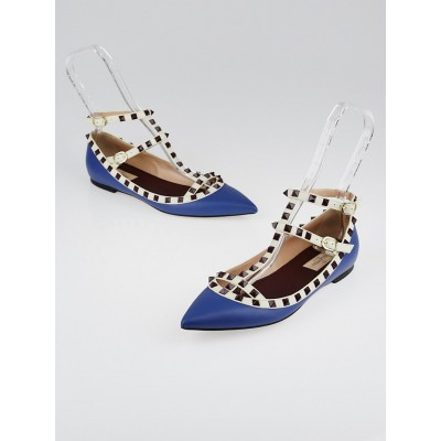 Valentino Blue/White/Burgundy Leather Rockstud T-Strap Flats Size 8.5/39