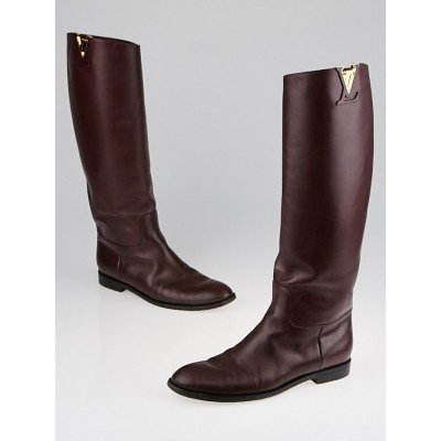 Louis Vuitton Burgundy Leather Heritage High Boots Size 8.5/39