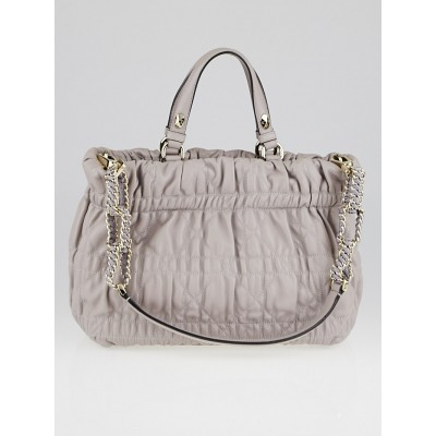 Christian Dior Grey Cannage Quilted Leather Chain Tote Bag