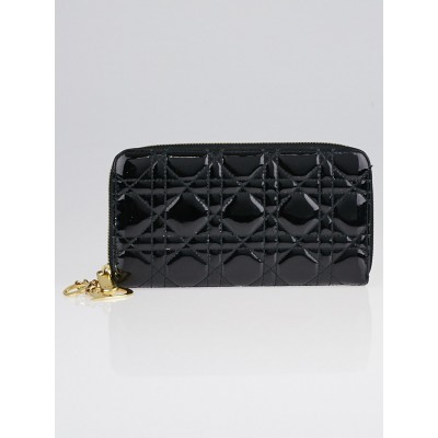 Christian Dior Black Cannage Quilted Patent Leather Zippy Wallet