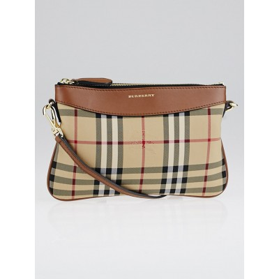Burberry Brown Horseferry Check Canvas Peyton Crossbody Bag