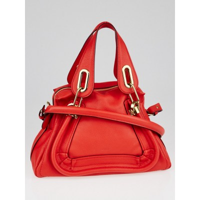 Chloe Poppy Red Pebbled Leather Small Paraty Bag