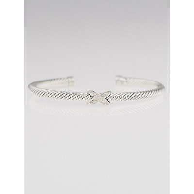 David Yurman 4mm Sterling Silver and Diamonds Cable Crossover X Bracelet