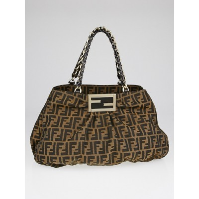Fendi Tobacco Zucca Print Canvas Mia Agnello Bag 8BR616
