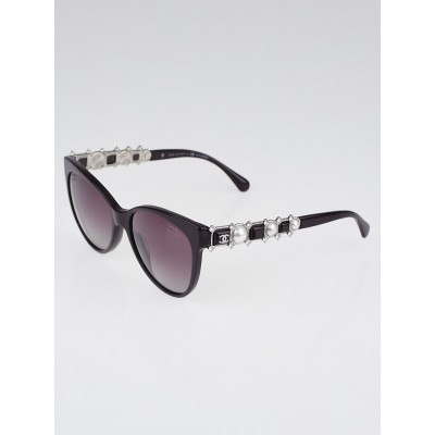 Chanel Burgundy Acetate Cat Eye Frame Bijou Pearl Sunglasses-5336
