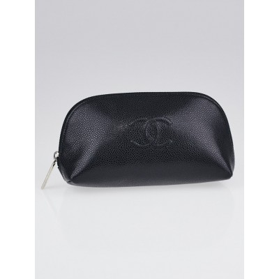 Chanel Black Caviar Leather CC Cosmetic Bag