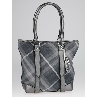 Burberry Silver Shimmer Check Degrade Charm Tote Bag