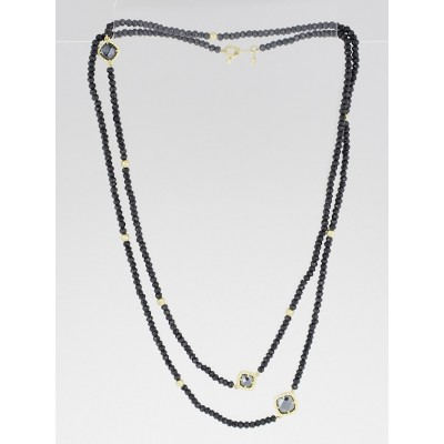 David Yurman 18k Gold with Hematine and Black Spinel DY Signature Bead Necklace