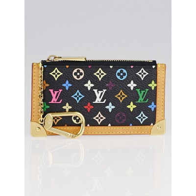 Louis Vuitton Black Monogram Multicolore Canvas Pochette Cles Key and Change Holder