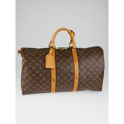 Louis Vuitton Monogram Canvas Keepall 50 Bandouliere Bag w/o Strap