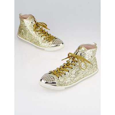 Miu Miu Goldtone Glitter High-Top Sneakers Size 9/39.5