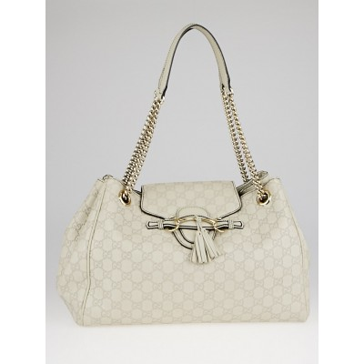 Gucci Dark White Guccissima Leather Emily Chain Large Shoulder Bag